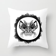 Half Hairy Angry Monkey Throw Pillow