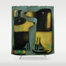 YELLOW AND BLACK HOUNDS Shower Curtain