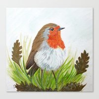 Robin with Oakleaves Canvas Print