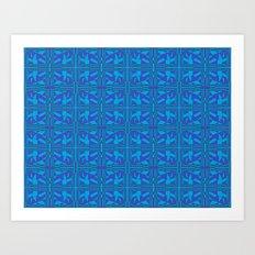 Blue Green Layers Art Print