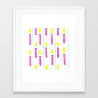 Framed Art Print featuring Pink and Lemon Stripes  by Sally Eyeballs