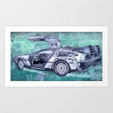 Back To The Future Delorean Art Print