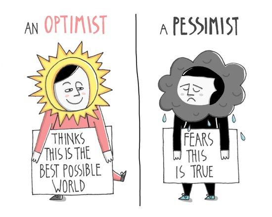Optimist Vs Pessimist Art Print