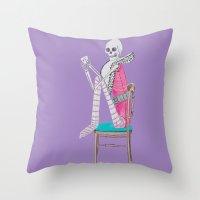 circus skeleton Throw Pillow