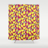 Lemon and pink Shower Curtain
