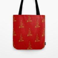 Gold Christmas Trees Tote Bag