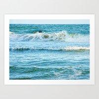 Enjoying the surf in summer Art Print