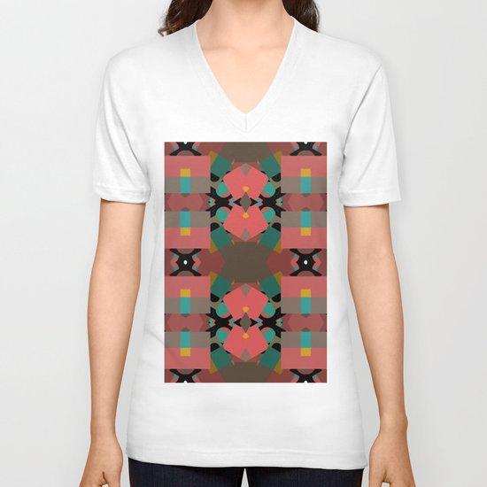 Geometic Crazy Mirror  V-neck T-shirt