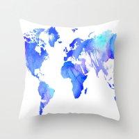 Watercolour World Throw Pillow