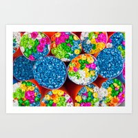 Bouquets of tiny colorful flowers Art Print
