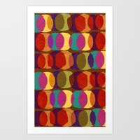 Collage and digital circle pattern Art Print