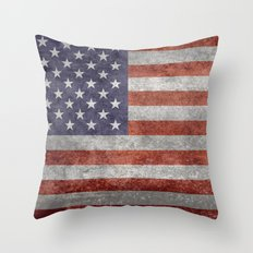 The United States of America Flag, Authentic 10:19 G-spec Desaturated version Throw Pillow