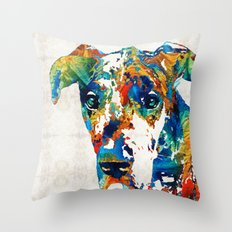 Colorful Great Dane Art Dog By Sharon Cummings Throw Pillow
