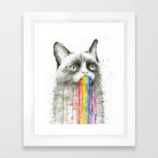 Grumpy Rainbow Cat Watercolor Framed Art Print
