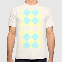 Checkers Yellow/Blue Mens Fitted Tee Natural SMALL