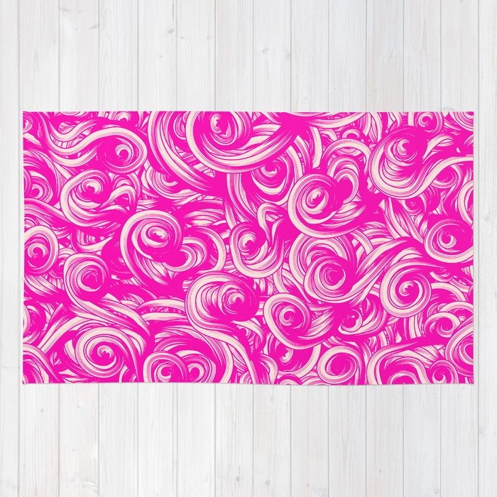 Abstract Girly Neon Pink Floral Swirls Pattern Rug By