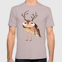 owl print, owl illustration, owl art, owl  Mens Fitted Tee Cinder SMALL
