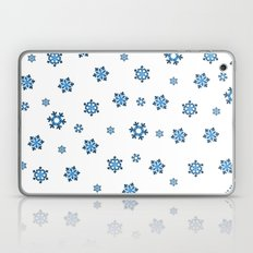 Snowflakes (Blue & Black on White) Laptop & iPad Skin