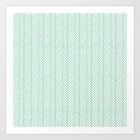 Herringbone Mint Art Print