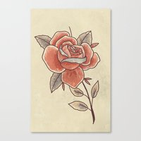 Rose On A Stem Canvas Print