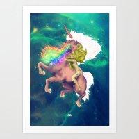 Gaga&Horse (The Galactic Tour of orgasms stellars from Unicorn) Art Print