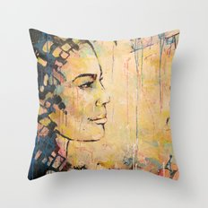 Looking to the Future -beautiful woman Throw Pillow