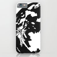 Full Moon black and white lino print iPhone 6 Slim Case