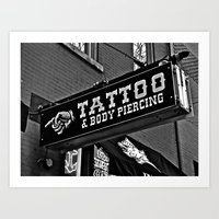 Tattoos Here Art Print