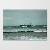 Leistering  Cargo Ship & Surfers Canvas Print