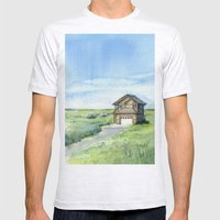 Beach House Landscape Watercolor | Long Beach, WA Mens Fitted Tee Ash Grey SMALL