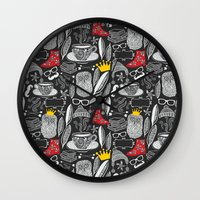 White on black. Wall Clock