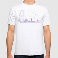 Watercolor landscape illustration_London Eye Mens Fitted Tee Ash Grey SMALL