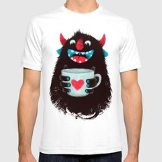 Demon With A Cup Of Coff… Mens Fitted Tee White SMALL