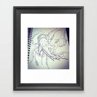Octopus V. Shark  Framed Art Print