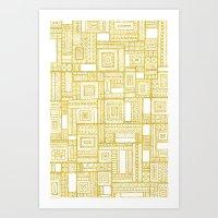Golden Doodle Patchwork Art Print