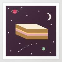 Ham & Cheese In Space Art Print