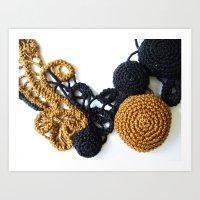 Black Coffee Romanian Point Lace Photography  Art Print