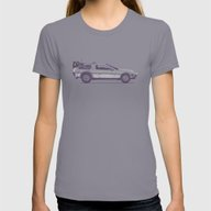 Famous Car #2 - Delorean Womens Fitted Tee Slate LARGE