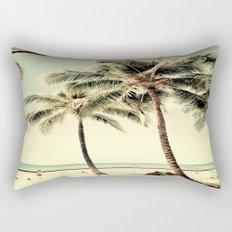 Retro Vintage Palm Tree with Hawaii Summer Sea Beach Rectangular Pillow