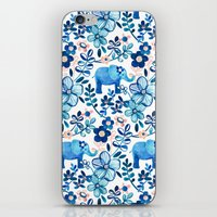 Blush Pink, White and Blue Elephant and Floral Watercolor Pattern iPhone & iPod Skin
