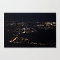 Fort Myers at night, taken from my window seat on the plane back from Ohio. Canvas Print
