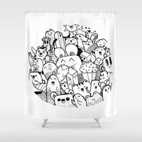 happy circle doodle Shower Curtain