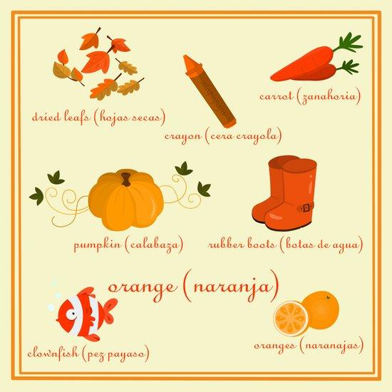 Colors: orange (Los colores: naranja) Art Print