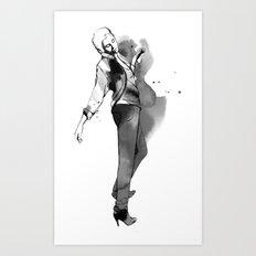 Fashion silhouette black and white - Ozie girl Art Print