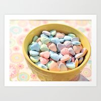 Candy Hearts Art Print