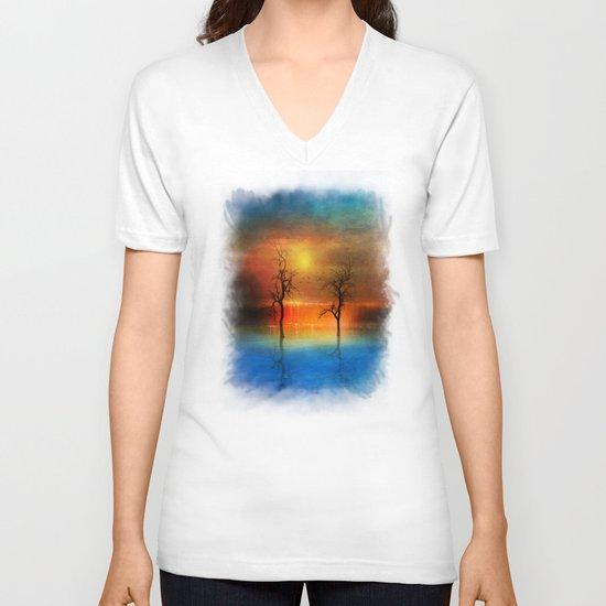 waterfall of light V-neck T-shirt