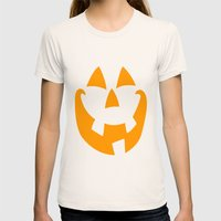 Pumpkin Face Womens Fitted Tee Natural SMALL