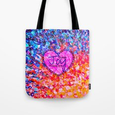 CHOOSE JOY Christian Art Abstract Painting Typography Happy Colorful Splash Heart Proverbs Scripture Tote Bag