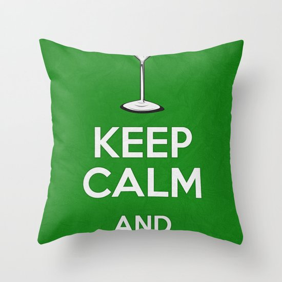 Keep Calm - Martini - Saint Patrick's Day Poster 03 Throw Pillow