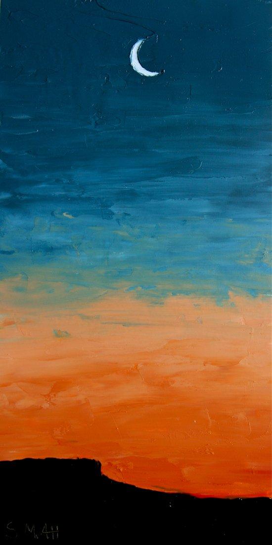 Pre-Dawn Moonrise, painting Art Print
